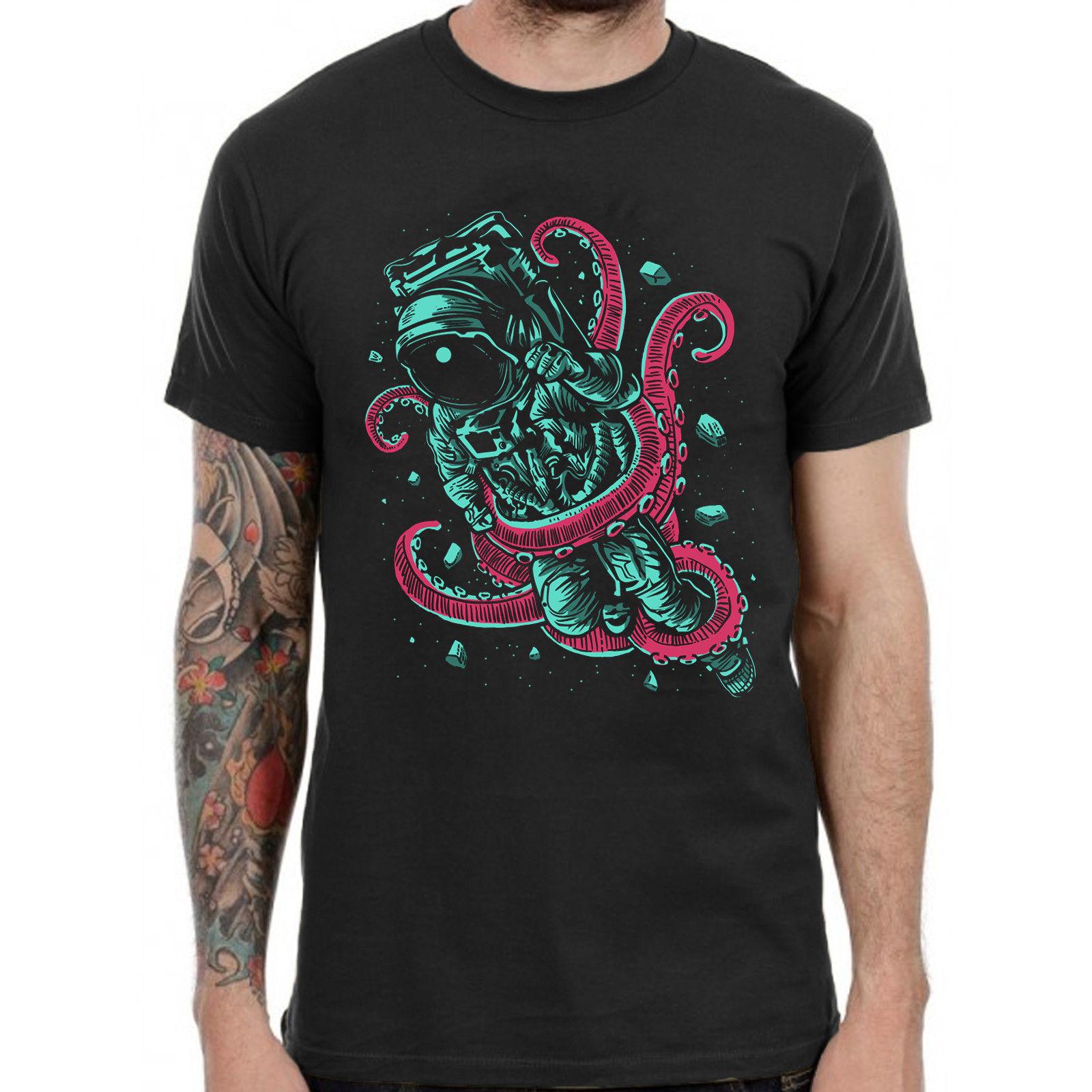 Astronaut Octopus Graphic T Shirt Retro Print Trippy Band DJ Dead Men Top Punk