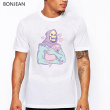 Skeletors Cat cartoon printed t-shirt men funny tshirt camisetas hombre harajuku shirt white tee streetwear tops