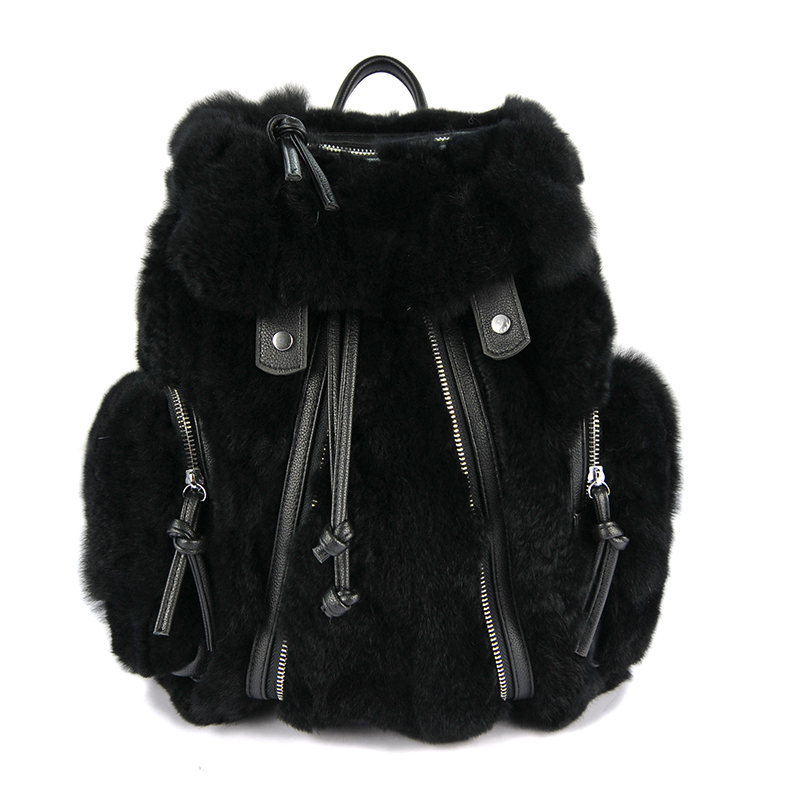 BENVICHED 2018 Winter Vintage Rex Rabbit Fur Women Backpack School Backpack School Bag Fashion Shoulder Bags mochila S143