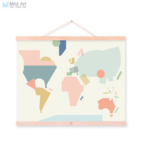 Fashion Colorful Abstract World Map Kawaii A4 Wooden Framed Canvas Painting Wall Art Prints Picture Poster