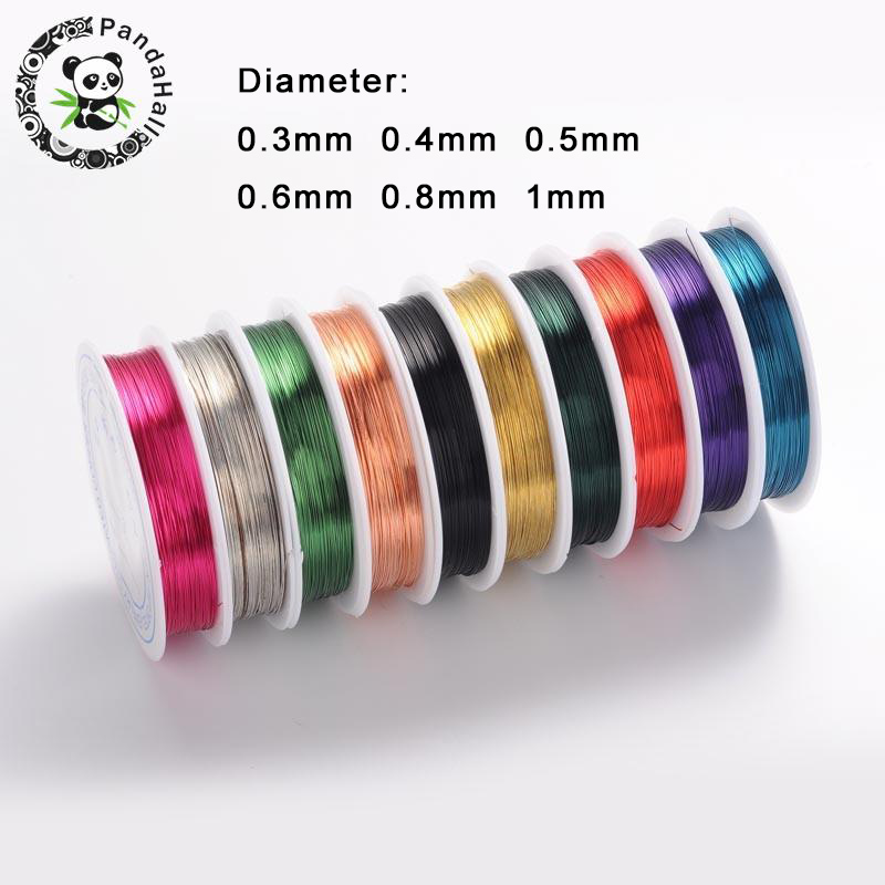 Mixed Color Copper Wire For Jewelry Beading Necklace Bracelet Accessories Making 0.3mm,0.4mm,0.5mm,0.6mm,0.8mm,1mm