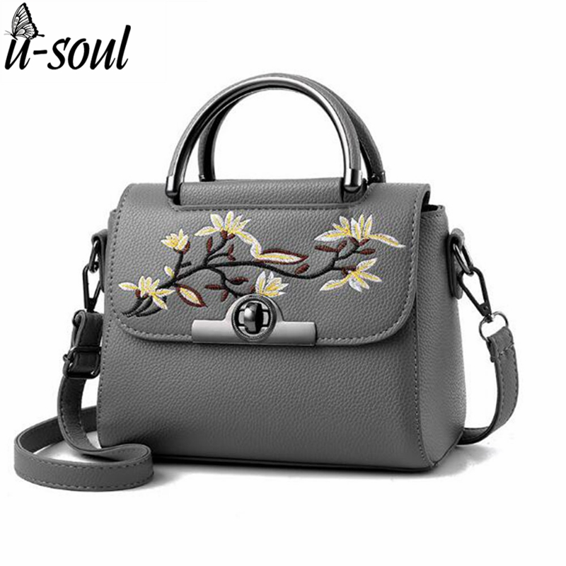 Women Bag Handbags Embroidered Flower Women Leather Handbag Lock Casual Bags Mes
