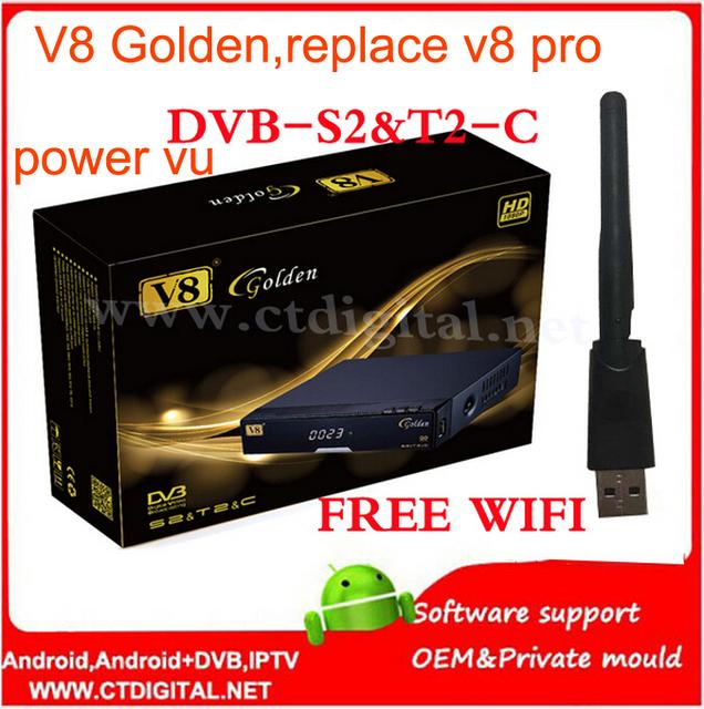 2 pcs v8 dourado freesat powervu receptor de satélite dvb-s2 + c + t2 youtube iptv receptor de satélite freesat v8 pro