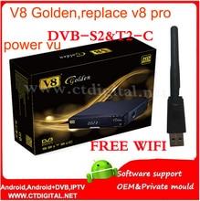 Oro + adaptador wifi DVB-S2 openbox V8/T2/C Receptor de Satélite Cable v8 de oro IPTV Youtube cam cline reemplazar openbox v8 pro