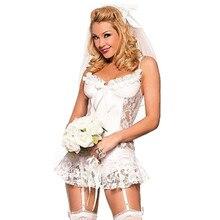 Noiva Sexy Trajes Lingerie de Noiva Sexy Hot Erotic Lingerie Branco Vestido de Casamento Da Noiva Sexy Lingerie Role Play Jogo Uniforme