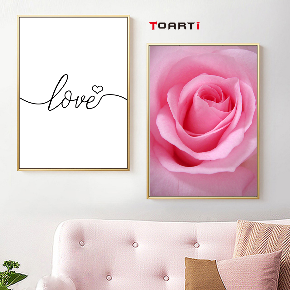 love quote pink flower  living room home wall art (2)