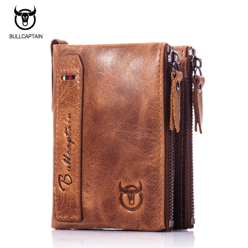 Bull captain vintage bifold brand leather men wallets for Yamaha leather wallet
