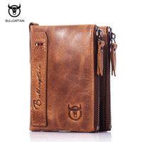 BULL CAPTAIN NEW DESIGN BIFOLD Brand Leather MEN Wallets Zipper SHORT Money Wallet Rfid Card Holder
