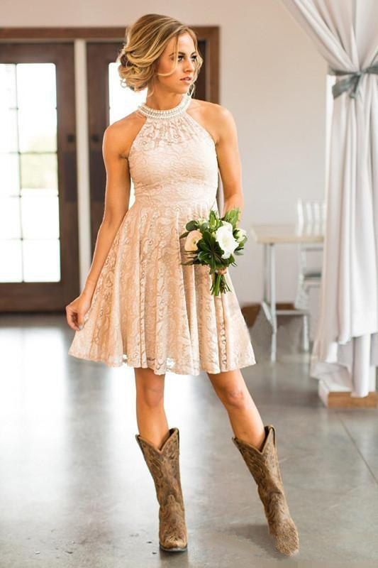 2019 Cheap Short   Bridesmaids     Dresses   Pearls Halter Neck Knee Length Boho Beach Maid of Honor Wedding Guest Party   Dress