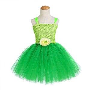 Image 2 - 녹색 산타 꽃 요정 공주 파티 드레스 어린 소녀 역할 놀이 투투 드레스 요정 마술 지팡이 날개 모자를 쓰고 있죠 1 12Y