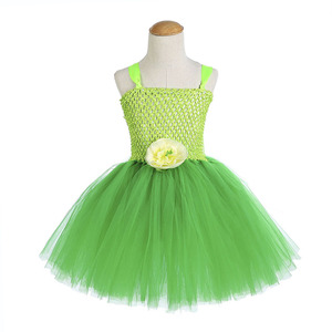 Image 2 - Green Santa Flower Fairy Princess Party Dresses for Little Girls Role Play Tutu Dress with Fairy Magic Wand Wing Headwear 1 12Y