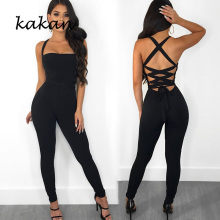 Kakan summer new womens tight jumpsuit black sling sexy waist straps slim bodysuit