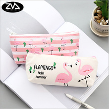 1X korean Flamingo canvas pencil case kawaii stationery pen bag Animal family estojo escolar school supplies