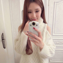 2016 women's spring sweet new fashion all-match snidel turtleneck strapless twisted knitted sweater free shipping