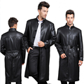 Ultra Long Leather Jacket Men Slim Stand Collar Leather Overcoat Brand Long Leather Coat Male Genuine Leather Coat Black M-XXXL