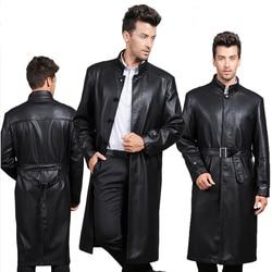 Ultra long leather jacket men slim stand collar leather overcoat brand long leather coat male genuine.jpg 250x250
