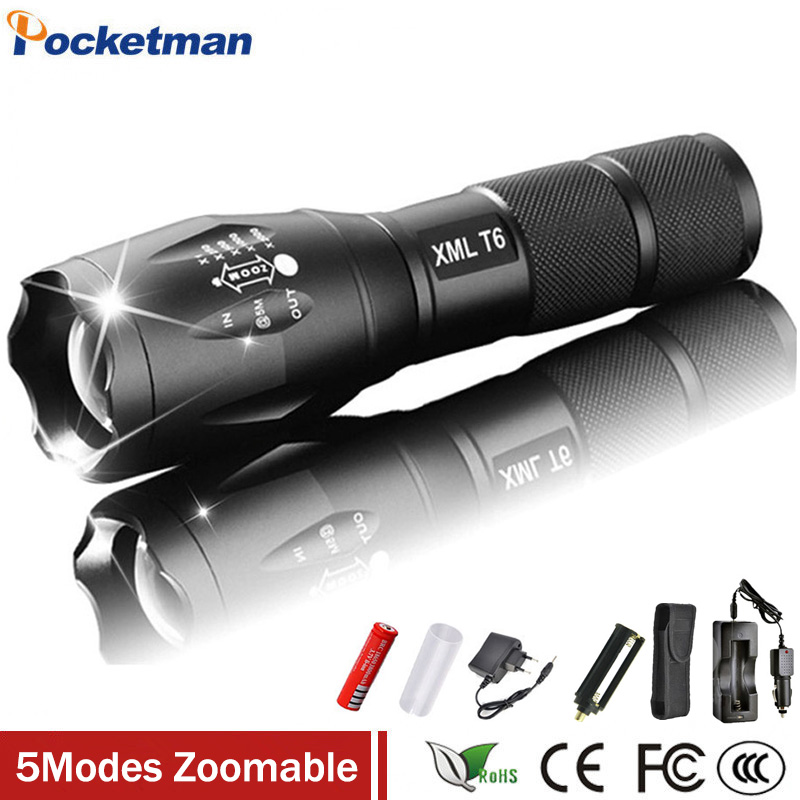 1Set XML-T6 3000lm Adjustable Led Flashlight Led Torch Car Charger+Battery Charger+1*18650 Rechargeable Battery + Holster pouch cree xml t6 3000lm adjustable led flashlight led torch car charger battery charger 18650 rechargeable battery holster zk10