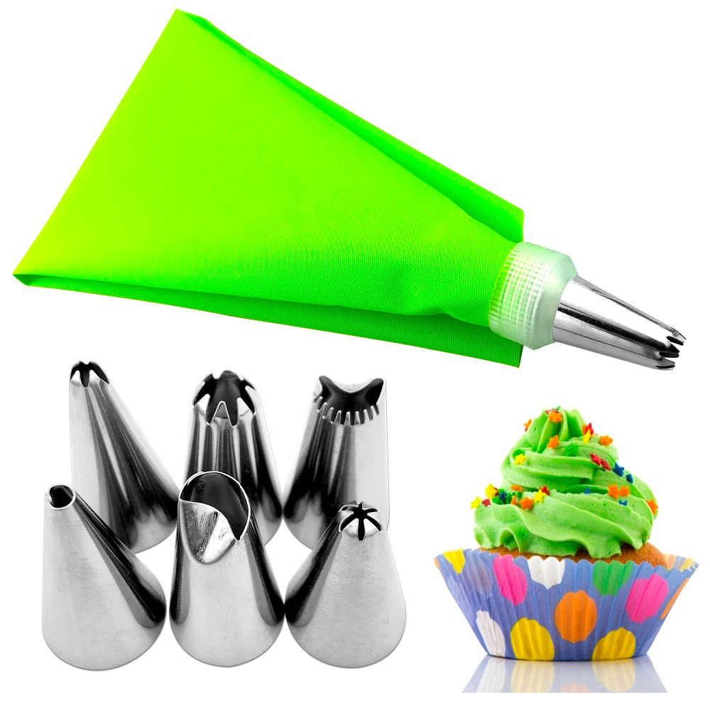 VOGVIGO 8pcs/set Silicone Icing Piping Cream Pastry Bag Decorators With 6Pcs Stainless Steel Nozzle Set DIY Cake Tips only blue