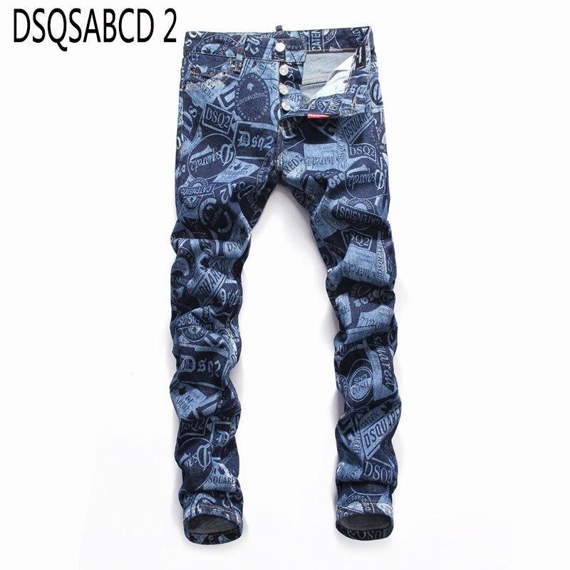 European American Style Fashion Men Denim Jeans Famous Brand Casual Jeans Zipper Slim Brand Blue Jeans Pencil Pants For Men