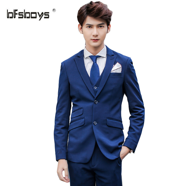 (Jacket+Vest+Pants) 2016 High-quality Brand Clothing Men single-breasted  Slim navy blue  Wedding groom Suits A147--X036--F230