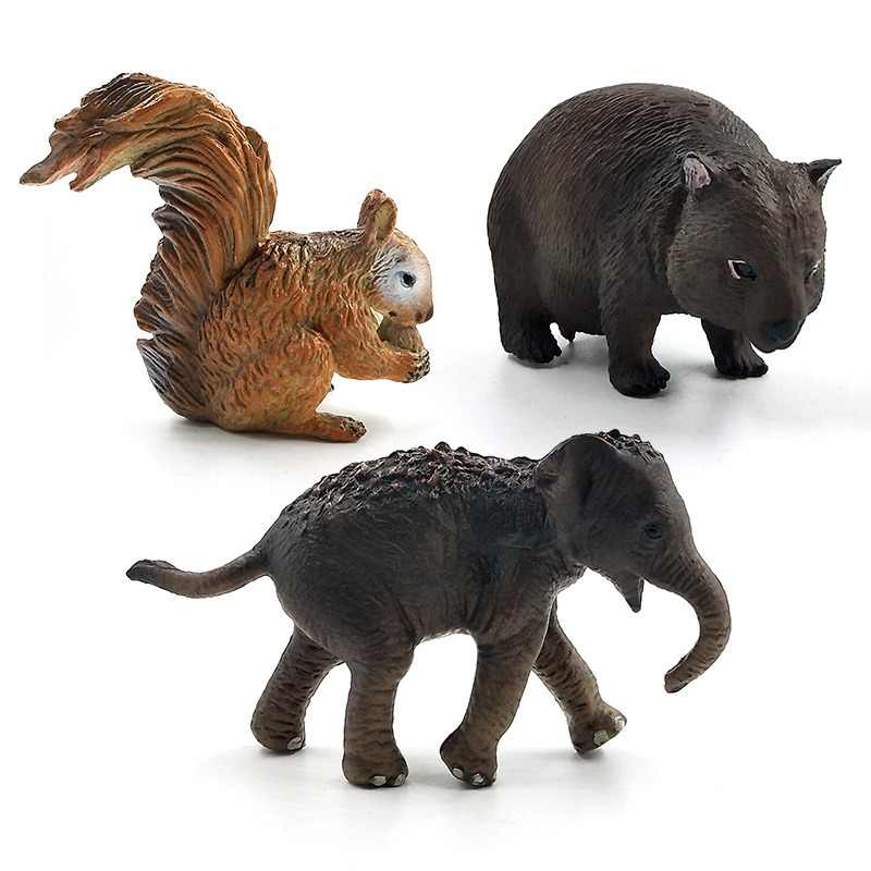 Simulation small Squirrel Elephant Wombat forest animal model figure plastic Decoration educational toys figurine Gift For Kids
