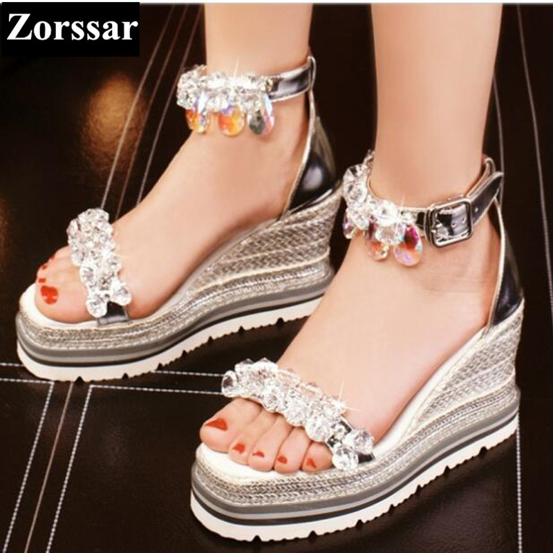 Woman Summer shoes casual wedges platform rhinestone high heels sandals 2017 Fashion Genuine leather womens peep toe heels pumps woman fashion high heels sandals women genuine leather buckle summer shoes brand new wedges casual platform sandal gold silver