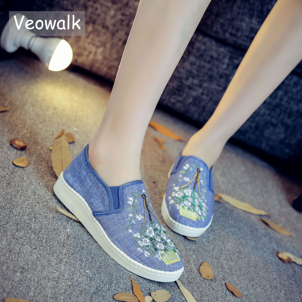 Veowalk New Flowers Embroidered Women's Linen Canvas Slip-on Loafers Comfort Fabric Ladies Classic Low Top Casual Flat Shoes цены онлайн