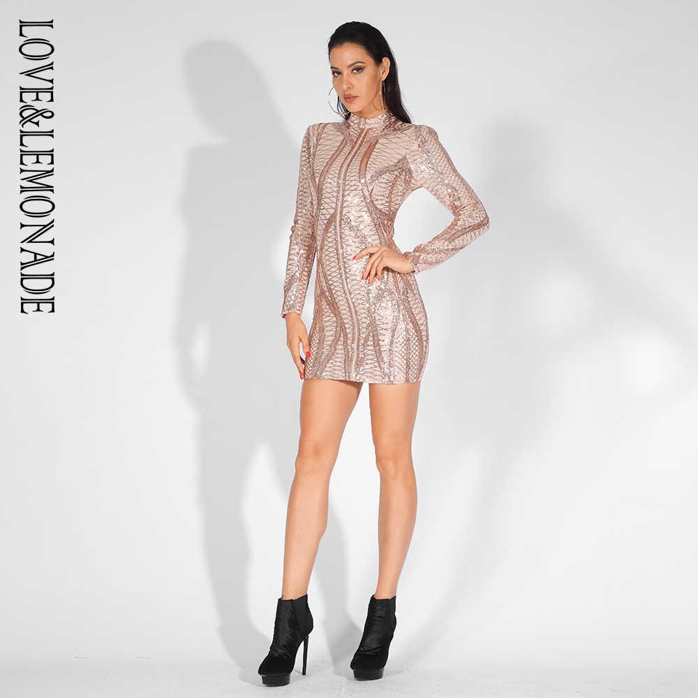 Liefde & Limonade Stand Kraag Geometrische Patroon Sequin Mesh Bodycon Party Dress LM81605GOLD