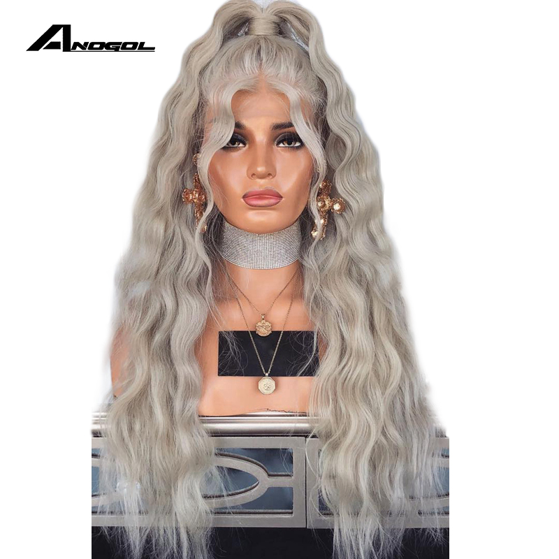 Anogol Sliver Grey Long Loose Wave High Temperature Fiber Synthetic Lace Front Wig With Pre Plcuked Baby Hair Wigs For Women