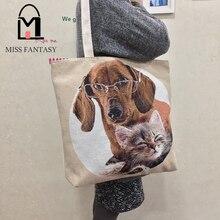 Frauen Handtasche Leinwand Einkaufstasche Lässig Strandtasche Hund Gedruckt Handtasche Große Kapazität Einkaufstaschen Täglichen Gebrauch Umhängetaschen frühling
