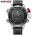 WEIDE Sports Watch 3D Black Face Genuine Leather LED 3ATM Waterproof Men's Quartz Outdoor Military Watches Erkek Kol Saati