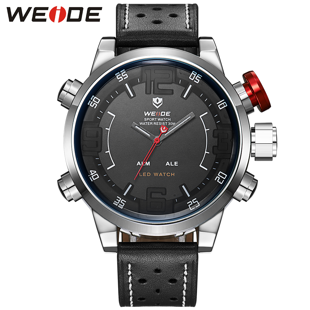 WEIDE Sports Watch Date Alarm Digital 3D Black Face Genuine Leather Buckle LED 3ATM Men's Quartz Outdoor Military Male Watches weide men running sports quartz watch black strap dual date day back light analog digital alarm clock military watches