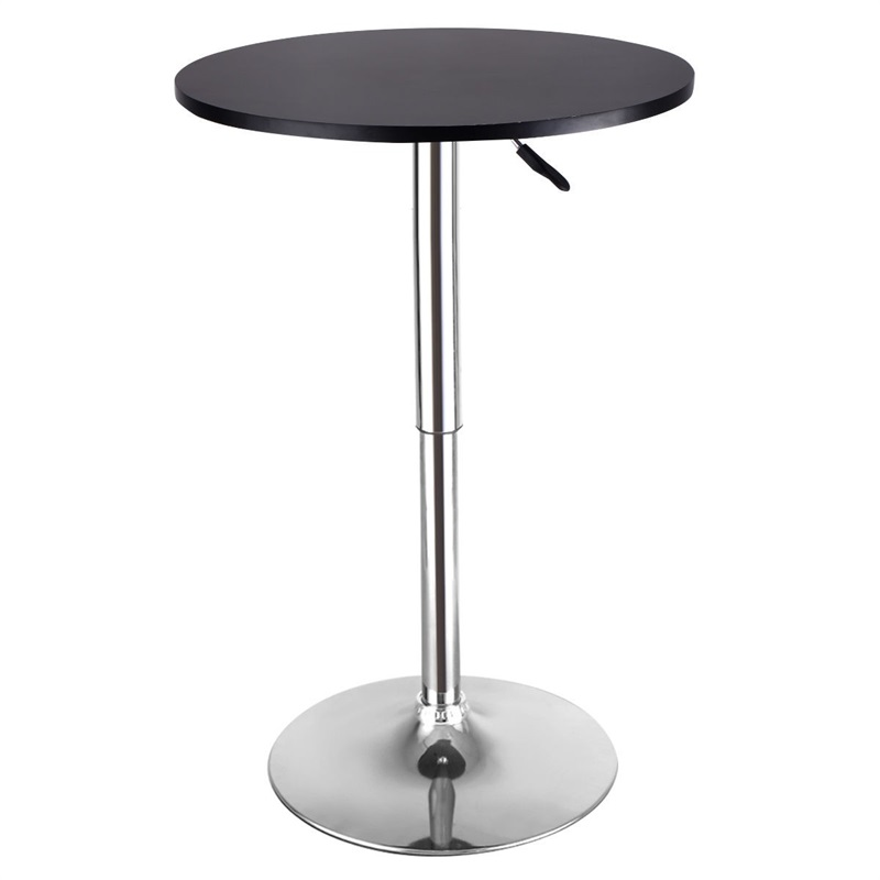 Height Adjustable Round Bar Table Strong Anodized Steel Base Bar Furniture Table HW52760