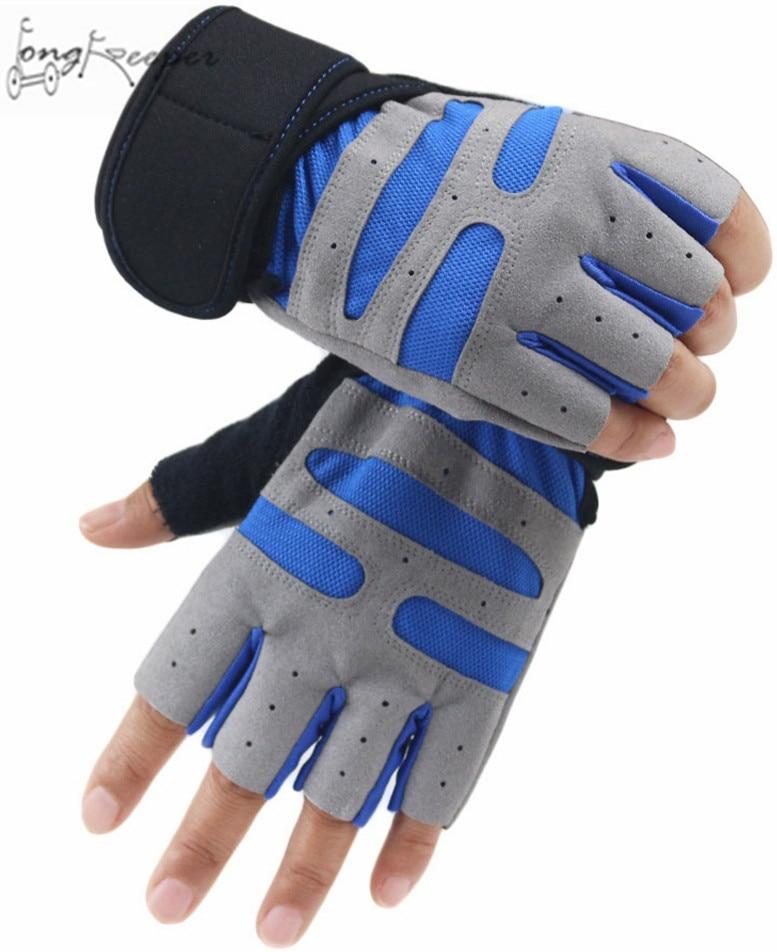 Long Keeper Weightlifting Half Finger Gloves Cycling Riding Running Gloves Wrist Adjustable Lycra Gloves For Men Women