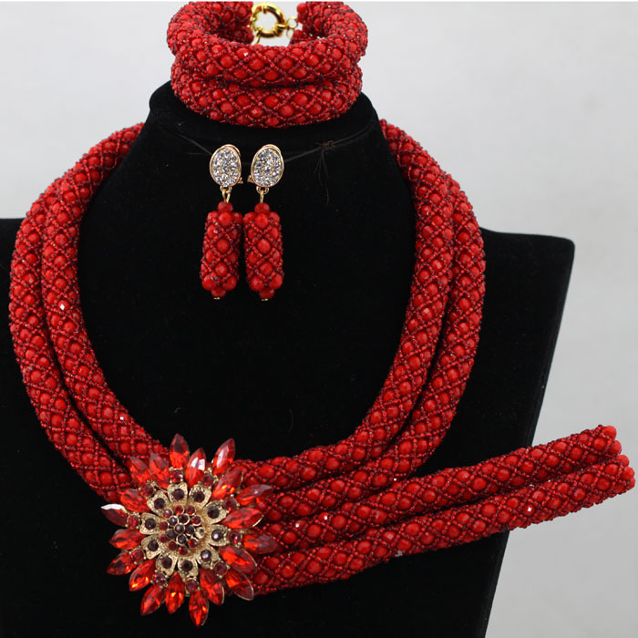 Charms Red African Costume Bridal Jewelry Sets Women Wedding Crystal Braid Statement Party Necklace Set New Free Shipping QW451Charms Red African Costume Bridal Jewelry Sets Women Wedding Crystal Braid Statement Party Necklace Set New Free Shipping QW451