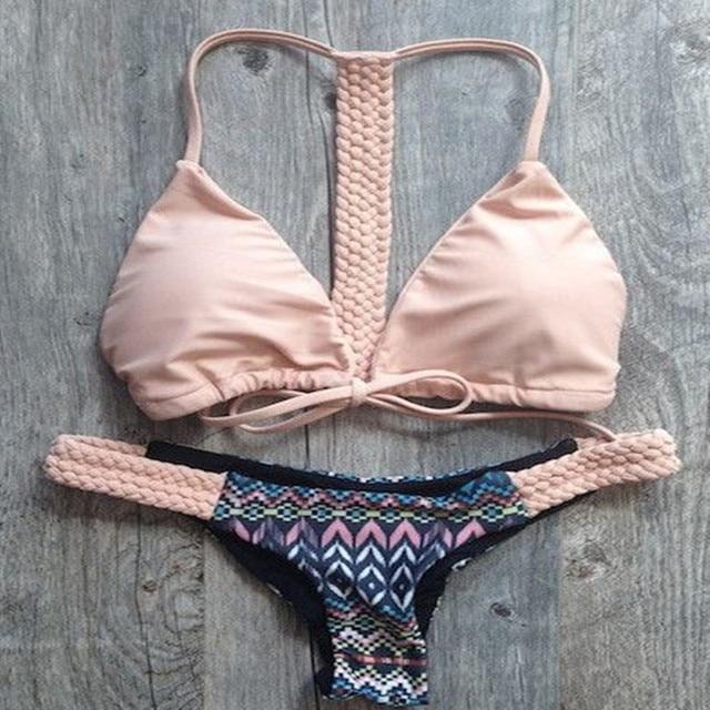 Solid woven Swimwear Bandage Bikini Sexy beach Swimwear Women Swimsuit Bathing Suit Brazilian Bikini Set maillot de bain E140