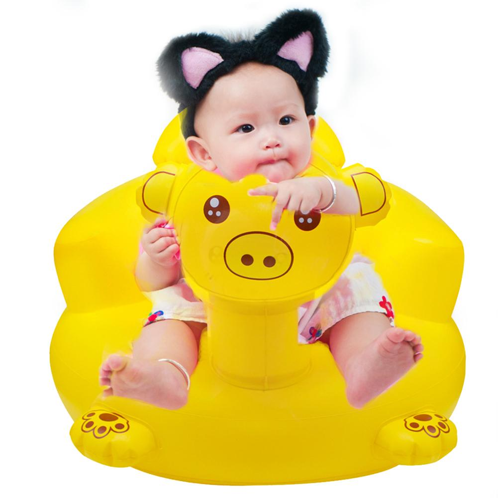 Infant Child Piglet Inflatable Small Sofa Baby Learning Chair Thickened Bath Stool Portable BB Multi-function Dining Seat