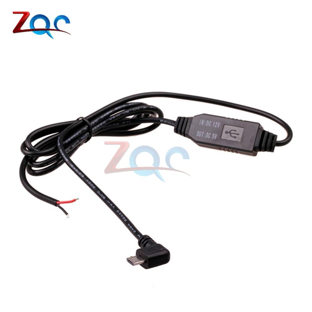 DC-DC от 12 В до 5 В пост преобразователь Micro Mini USB проводных автомобильное Мощность Зарядное устройство для gps планшет телефон PDA DVR Регистраторы Камера 1 м - Цвет: Micro USB Right