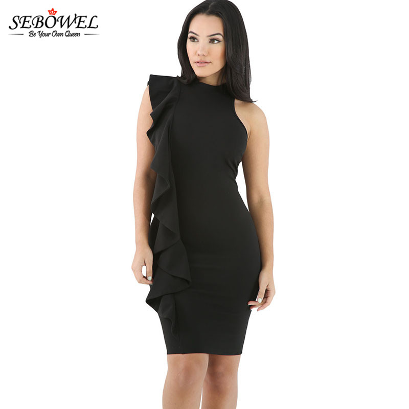 dfb05c47c35 Online Shop 2017 Summer New Style Ruffles Sleeve Sleeveless One-Side Black  Ruffle Trim Body-Hugging Mini Dress Ladies Office Formal Dress