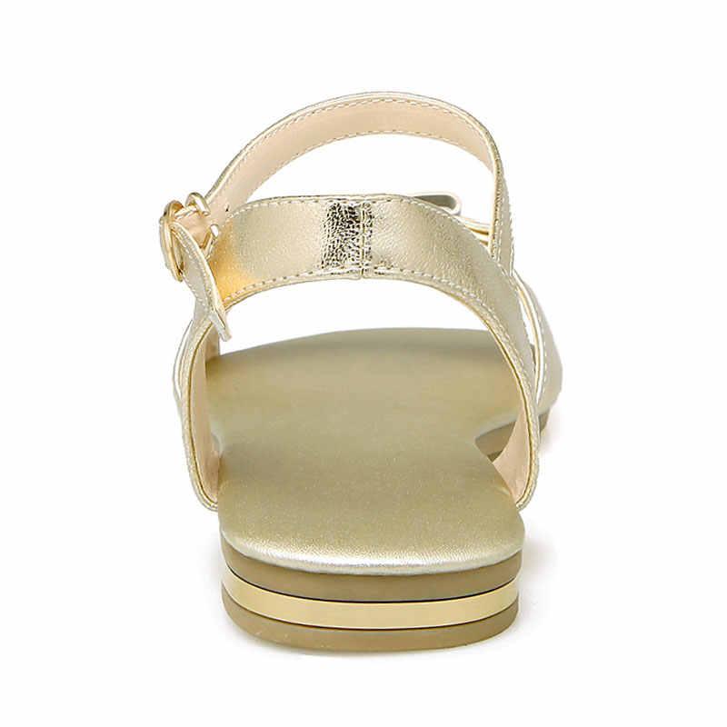 75861cf9f6d0 ... Daitifen Italian Ladies Shoes 2018 Summer Cow Leather Women s Flat  Sandals Back Strap Flats Elegant Bow