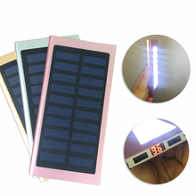 10000mAh 21LED Lights Solar Panel Power Bank with LCD Thin External Quick Charger Powerbank  for Mobile Phones,Tablet PC,Camping