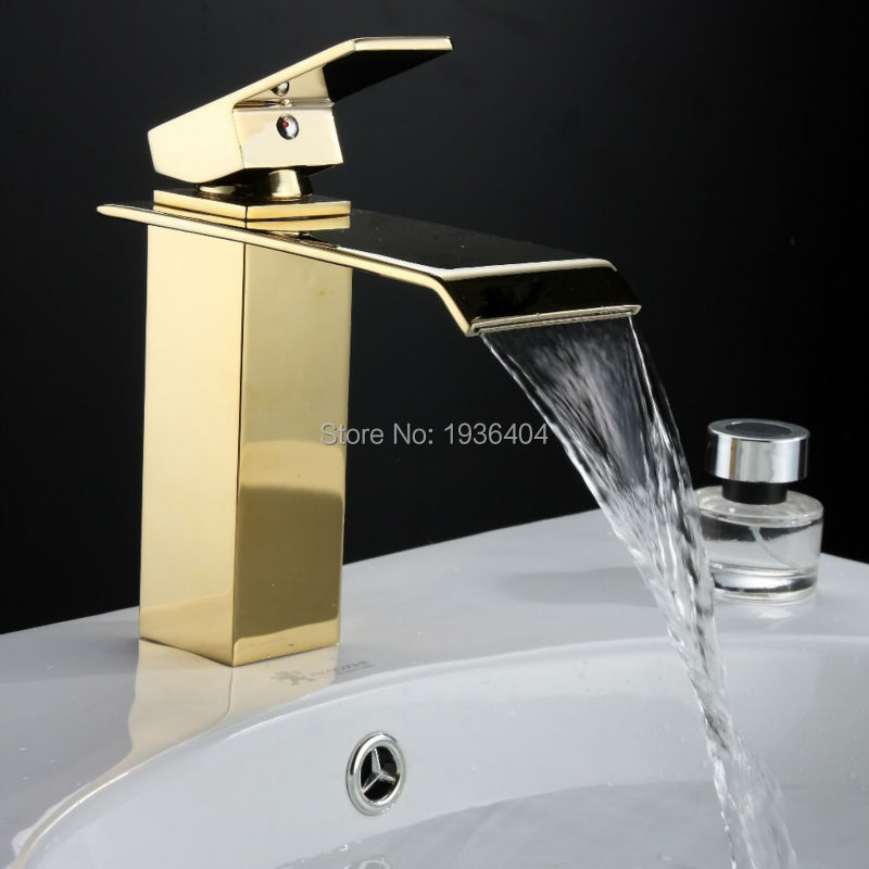 Gold Bathroom Faucets Square Waterfall Faucet Hot and Cold Device ...
