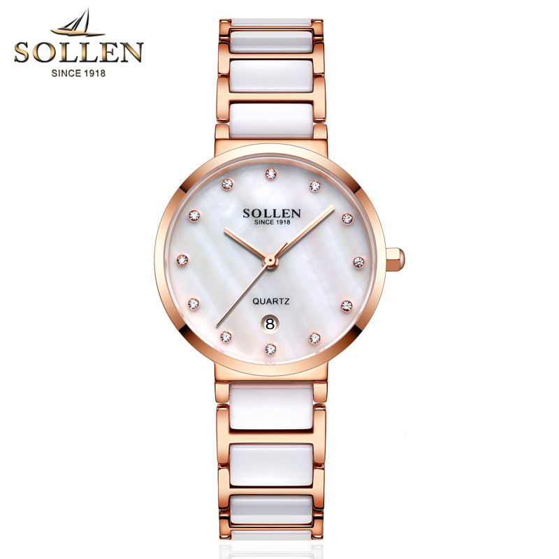 цена SOLLEN Luxury Brand Ceramics Watch Fashion Dress Crystal Rose Gold Quartz Women Watches Calendar Waterproof Wristwatches relogio