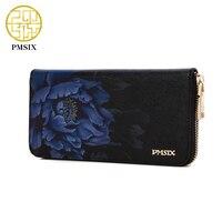Pmsix Flower Print Chinese Wind Genuine Leather Wallet Purse Zip Large Capacity Long Ladies Vintage Clutch