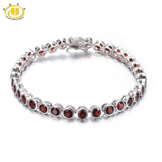 "Hutang 11.9Ct Link Pulseira Solid 925 Esterlina das mulheres de Prata Natural Garnet Gemstone Rodada Bezel Set Fine Jewelry 7.0"""