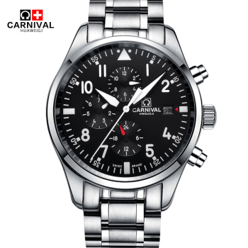Multi funtion Mechanical Watch Self-Wind CARNIVAL Pilot Automatic Watch Men Waterproof 100m Double Calendar Sapphire HD luminous Mechanical Watches