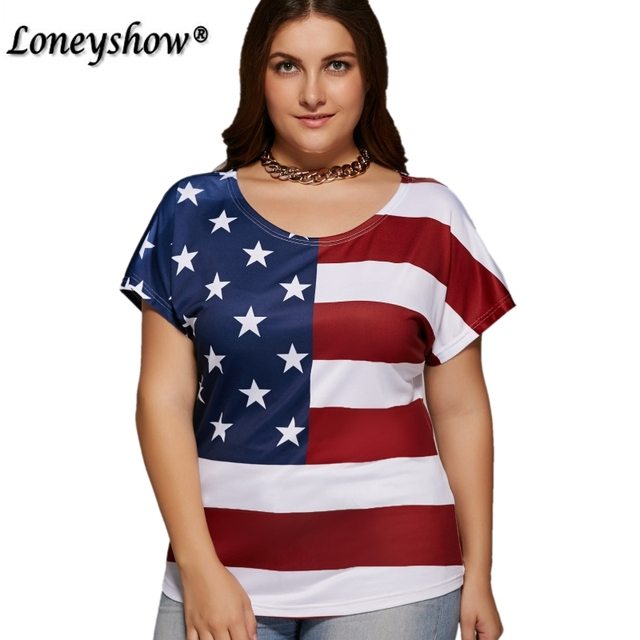 537930ab335 Plus Size Fashion American Flag Pattern Women Casual T Shirt Top Stars  Striped Print Top Crop Female T-shirts 5XL
