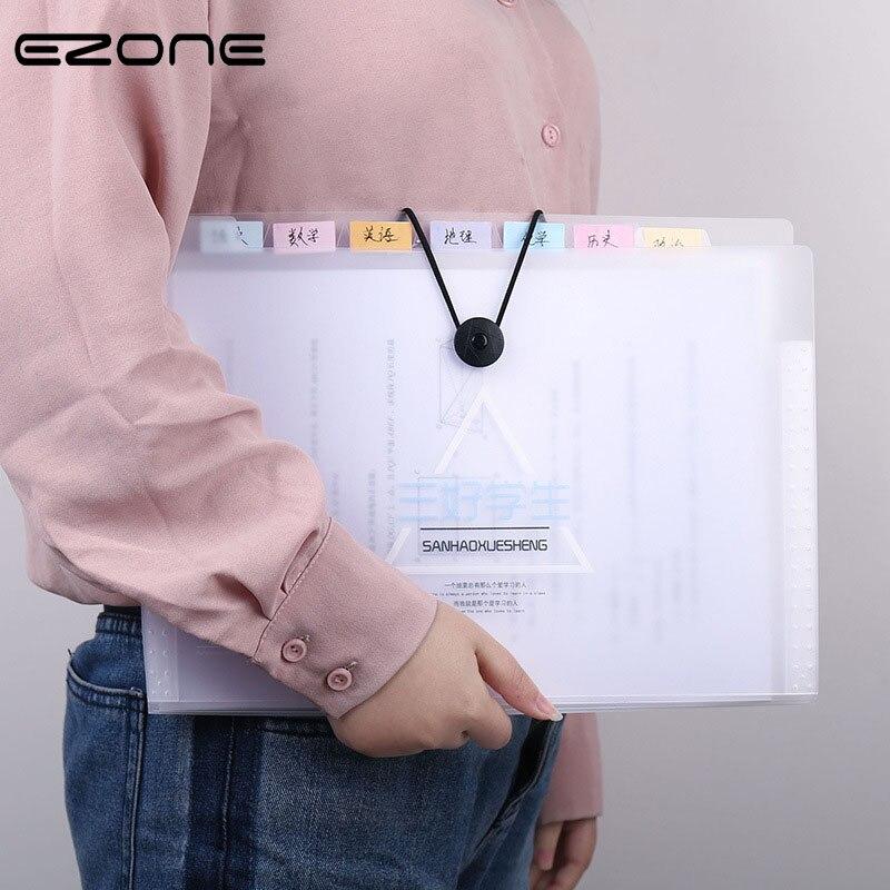 EZONE 1PC 8 Grids Multi-function File Bag Expanding Wallet Bag Office Folder Ticket Bag Large Capacity Practical Stationery