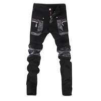 New top quality free shipping faux leather men pants slim skinny trousers mens jeans size 28 34(small size)B108