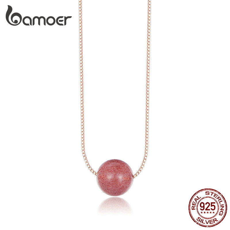 bamoer Crystal Beads Necklace for Women Sterling Silver 925 Natural Stone Jewelry Power Necklaces Rose Gold Color Jewelry BSN096